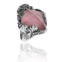 Raspini ring bloem rozenquartz met bergkristal