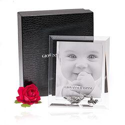 Fotolijst voor baby met zilveren ooievaar