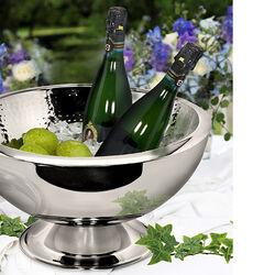 Stalen champagnekoeler voor meerdere flessen rond