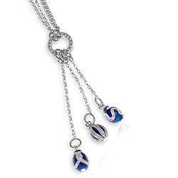Faberge Zilveren Collier Drie Charms Eggs H3004