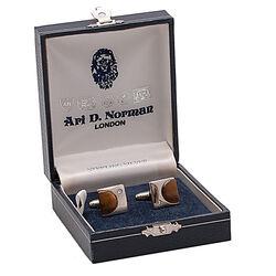 Juweliersrestant Zilveren Manchetknopen Tijgeroog