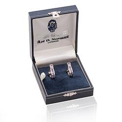 Juweliersrestant Zilveren Manchetknopen Amethist