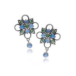 zilver oorbellen opaal smaragd