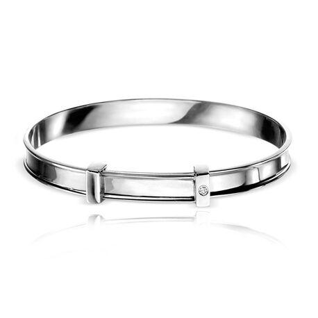 Kinderarmbandje van zilver met diamantje van D for diamand B5060