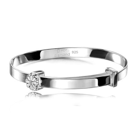 D For Diamond Zilveren Armband Bloem