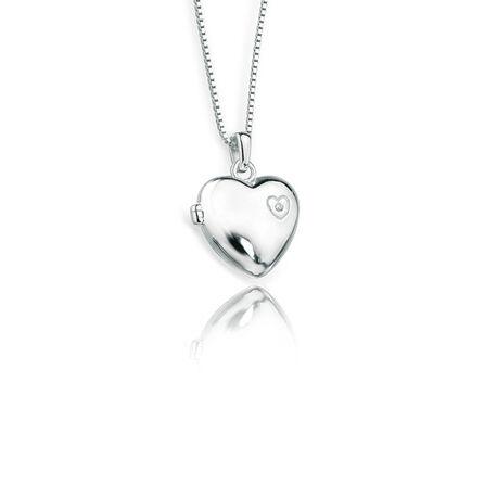 Zilver kettinkje met hart medaillon P2548 D for Diamond