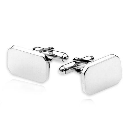 zilveren manchetknopen rechthoek