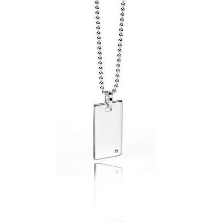 Fred Bennett zilver collier met dogtag diamantje
