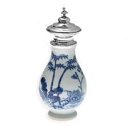 Chinees Porseleinen Theebus Zilveren Dop