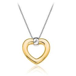 Zilver collier met verguld hart met diamantje Hot Diamonds