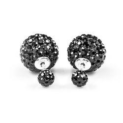 Double Dots Black Crystal Tribal Oorstekers