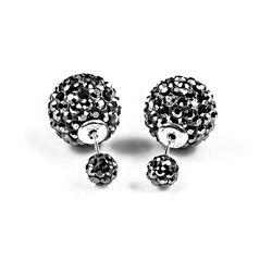 Oorbellen Double Dots Hematiet crystal klein