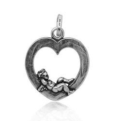 Zilveren harthanger met engel van Raspini