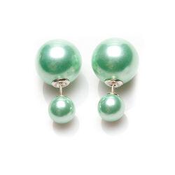 Double Dots Oorstekers Chryolite Crystal Pearl