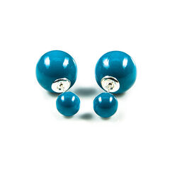 Oorbellen Double Dots Blue Crystal parel