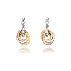 Zilver oorbellen Tricolor Trio cirkels Hot Diamonds