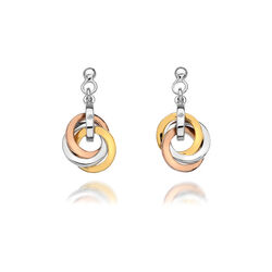 Zilver oorbellen Tricolor Trio cirkels Hot Diamonds