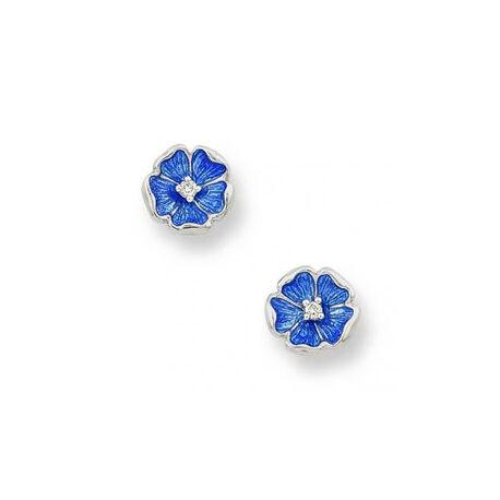 Zilver oorbellen bloem blauw  met diamantje Nicole Barr