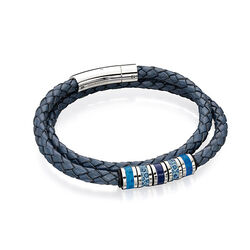 Fredbennett Leren Armband Staal Blauw B4557