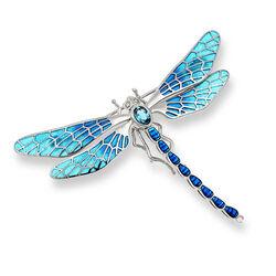 Nicole Barr zilveren vlinder met blauw vensteremaille naar Art Nouveau voorbeeld