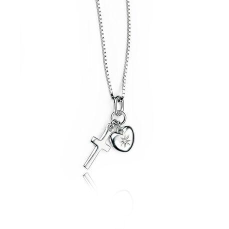 D For Diamond collier hart en kruis hangertjes