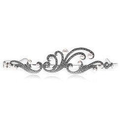 Zilver Tiara met parels en markasiet