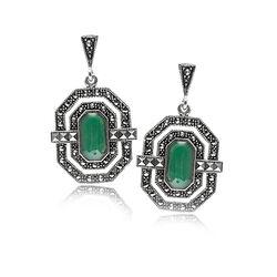 Zilveren Oorbellen Groen Agaat Marksiet