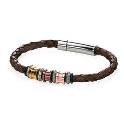 Leren herenarmband stalen beads Fredbennett B4210