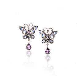 Zilveren Oorstekers Vlinder Opaal Amethist