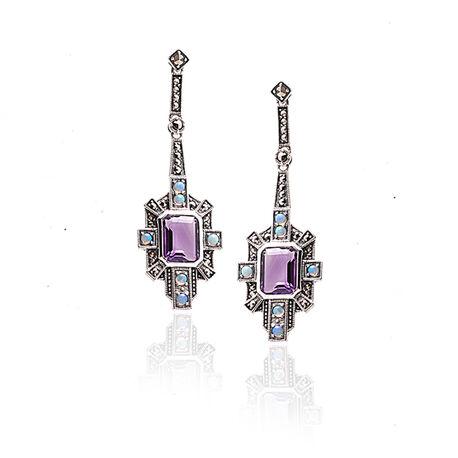 Zilveren oorbellen opaal markasiet en amethist