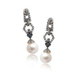 Zilveren oorbellen saffier parel markasiet