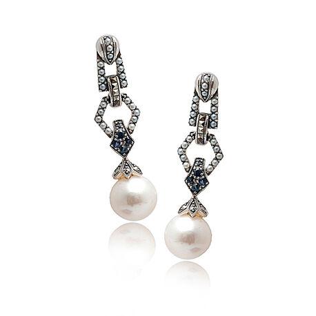 Zilveren oorbellen parel met saffier en markasiet