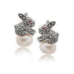 Zilveren oorstekers konijntjes robijn parel markasiet