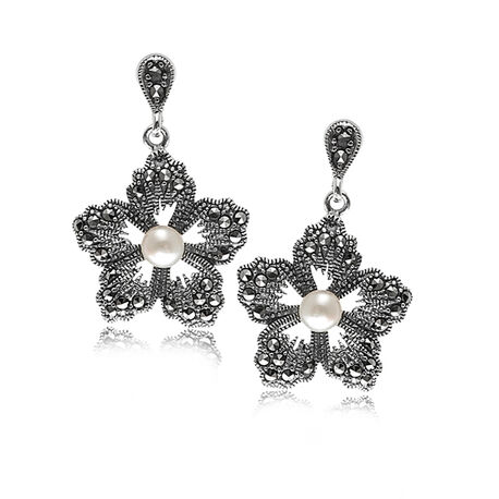 Markasiet oorbellen zilver bloem met parel
