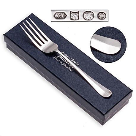 Zilveren Kindervork of toevork Hollands glad 14 cm