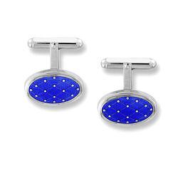 Nicole Barr Zilveren Manchetknopen Blauw Emaille