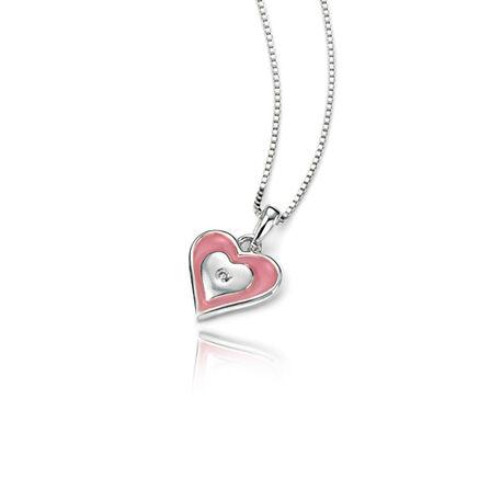 Zilver kettinkje roze hartje D for Diamond