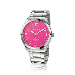 Zinzi stalen horloge roze wijzerplaat ZIW209