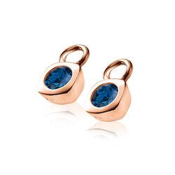 Zinzi rosé oorbedels vierkant blauw zirkonia ZICH1150H