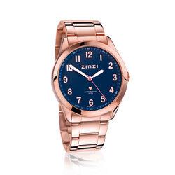 Zinzi Stalen Watch Rose Verguld Blauwe Wijzerplaat Ziw207