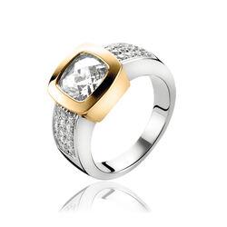 Zinzi Ring Vergulde Zetting Zirkonia Zir1156y
