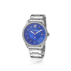 Zinzi Stalen Horloge Blauwe Wijzerplaat Zirkonia Ziw303