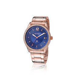 Zinzi horloge rosékleurig staal met blauwe wijzerplaat