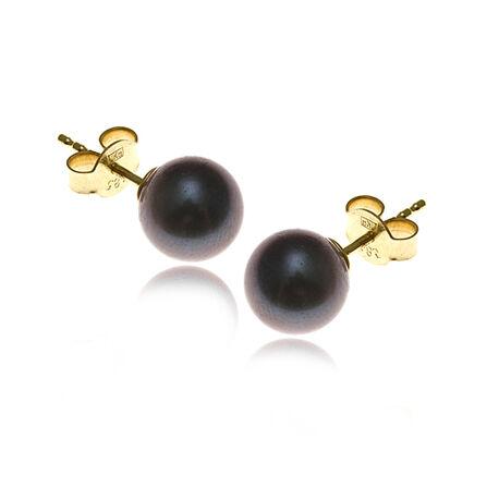 gouden oorbellen zwarte parel