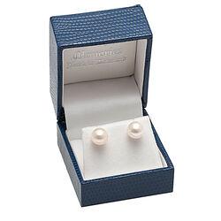Gouden oorstekers met een grote witte zoetwater parel
