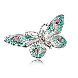 Zilveren broche Vlinder tourmalijn