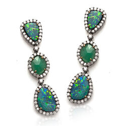 India Gem oorhangers smaragd opaal diamant