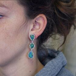 Oorbellen met smaragd opaal en diamant India Gem