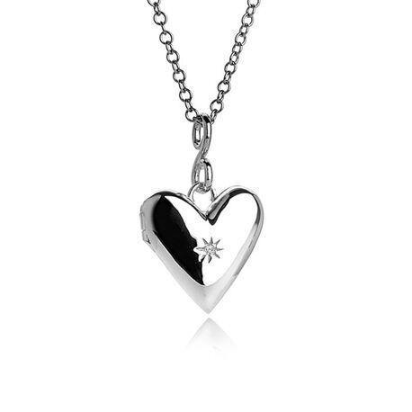 Zilver collier met hart medaillon 2 foto's DP142 Hot Diamonds