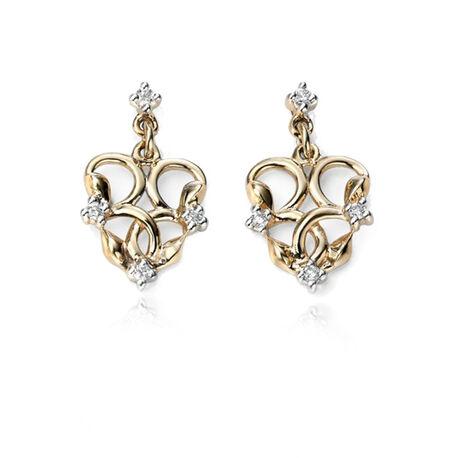 Gouden oorbellen hart met briljant GE967